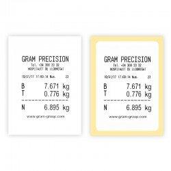Ejemplo de impresión de papel y pegatina de etiquetadora Gram Q2